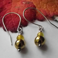 Agate and gold pyrite earrings