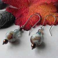 Agate and fused glass earrings