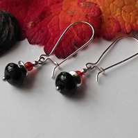 Black and red agate earrings