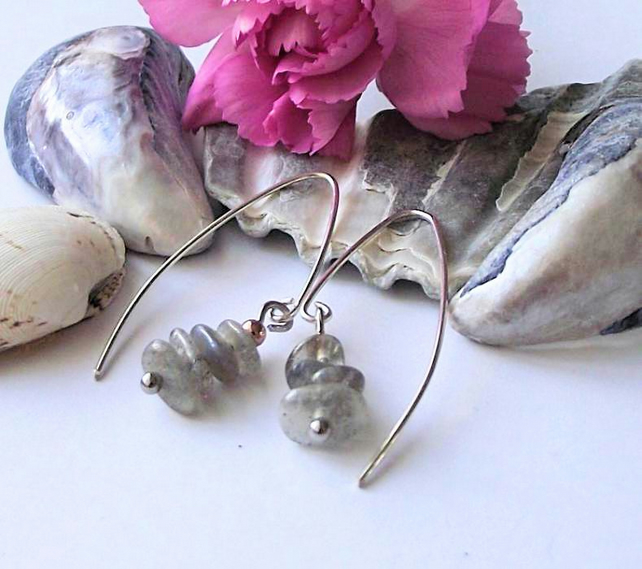 Earrings, semi precious gemstone, silver, handmade, labradorite, grey