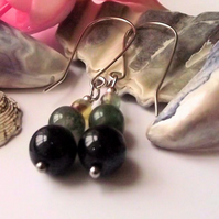 Moss agate and blue goldstone earrings