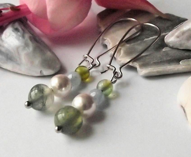 Earrings, semi precious gemstone, silver, handmade, agate, pearl, green, blue