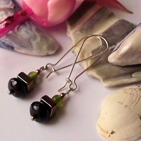 Earrings, semi precious gemstone, silver, handmade, SALE, Agate, haematite
