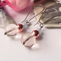 Earrings, semi precious gemstone, silver, handmade, clear, crackle quartz, gold