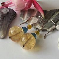 Earrings, semi precious gemstone, silver, yellow blue quartz