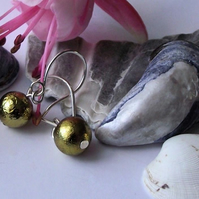 Earrings, semi precious gemstone, silver, gold coated pyrite
