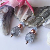 Earrings, semi precious gemstone, silver, blue quartz, rose gold, haematite