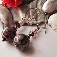 Earrings, semi precious gemstone, silver, handmade, Pink jasper, crystal