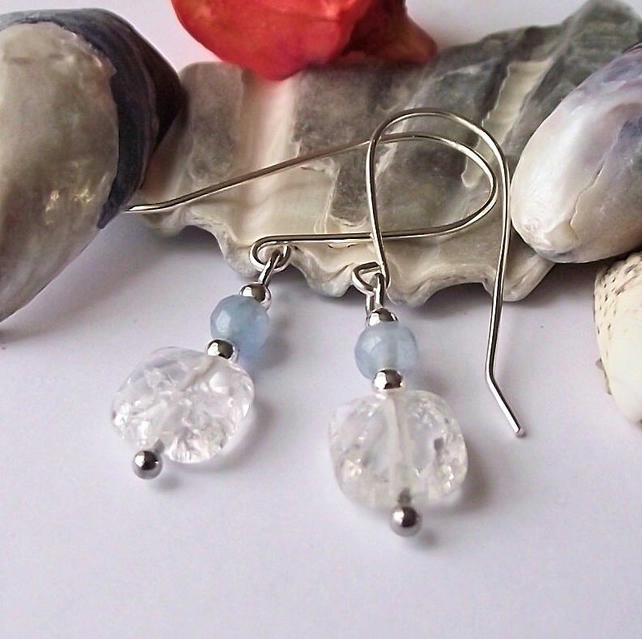 Clear blue agate earrings semi precious gemstone