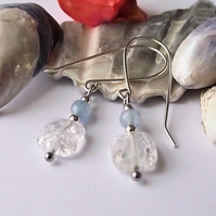 Earrings, semi precious gemstone, silver, handmade, crackle Quartz and agate