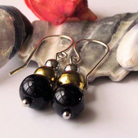 Earrings, semi precious gemstone, silver, blue goldstone pyrite and haematite