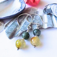 Earrings, semi precious gemstone, silver, crackle agate, green, yellow, grey