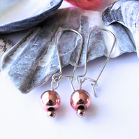 Earrings, semi precious gemstone, silver, rose gold haematite