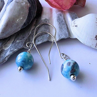Earrings, semi precious gemstone, silver, blue cyan Jasper