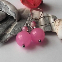 Pink quartz and agate earrings