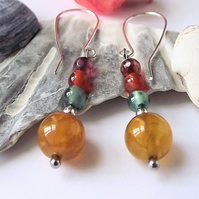 Rainbow agate earrings