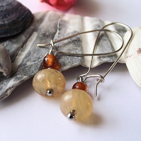 Caramel quartz and agate earrings