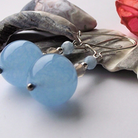 Blue chalcedony and agate earrings