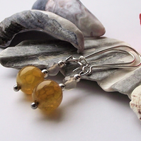 Yellow and grey agate earrings