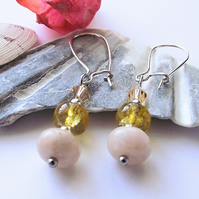 Pink jasper and yellow green agate earrings