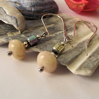 Pink Jasper and haematite earrings