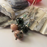 Pink jasper and green agate earrings