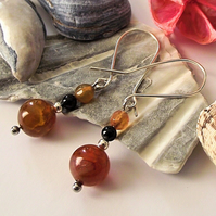 Golden yellow agate earrings semi precious gemstone