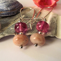 Pink Jasper and pink agate earrings
