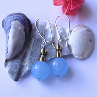 Blue chalcedony and gold coated haematite earrings