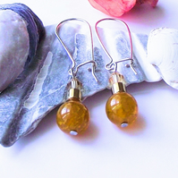 Golden yellow agate and haematite earrings