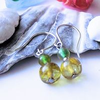 Lemon and green agate earrings