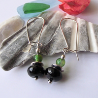 Black green earrings agate semi precious gemstone