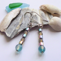 Blue grey silver agate earrings
