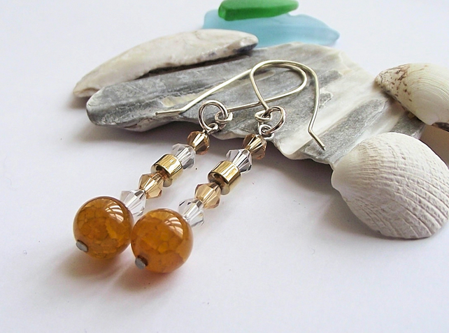 Yellow crackle agate earrings
