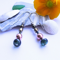 Blue agate rose gold earrings