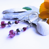 Pink agate and silver haematite earrings