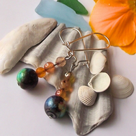Ceramic and agate earrings