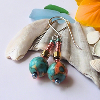 Teal Jasper and Haematite earrings