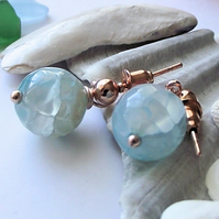 Blue fire agate earrings