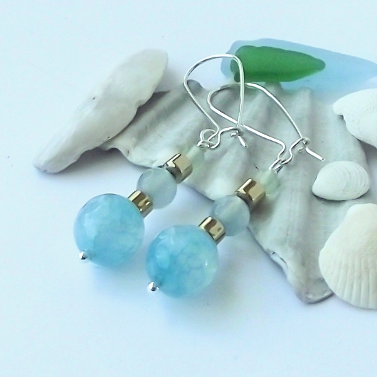 Blue green fire agate earrings