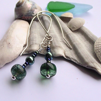 Blue green agate haematite earrings