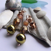 Gold Pyrite agate crystal earrings