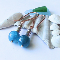 Blue earrings  fire agate haematite copper