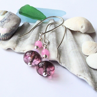 Purple agate jade earrings