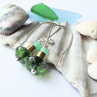 Green gold agate jade earrings