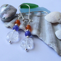 Clear quartz agate earrings blue orange