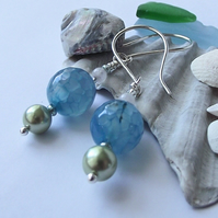 Blue agate green pearl earrings