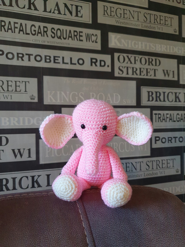 Pink and cream Elephant Crochet Soft Toy
