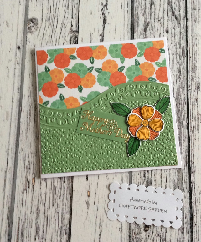Happy Mothers Day Card - Green Floral