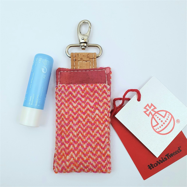 Pink Wave Harris Tweed Lip Balm Holder
